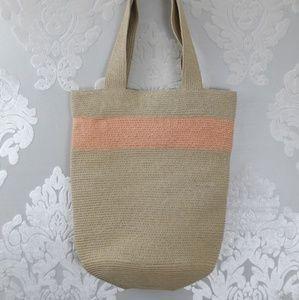 Ann Taylor Loft Woven Straw Small Tote Beach Bag